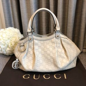 "💯Authentic GUCCI ""Sukey"" Medium Leather Tote Bag"
